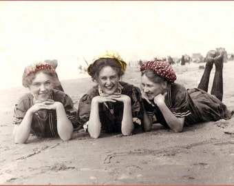 Bathing Beauties on Beach fine art Greeting Card
