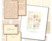 Miniature Dollhouse Printable Letter digital collage sheet letters envelopes 1/12 scale 1:12 scale tiny love letters billet-doux