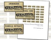 """Miniature Antique Pharmacy Labels digital collage sheet 1"""" x .5"""" 25mm x 12mm 1:12 scale"""