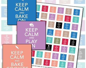 Keep Calm and Carry On 1 inch 25mm square inchies digital collage sheet 25mm x 25mm 25.4mm black blue teal maroon lavender