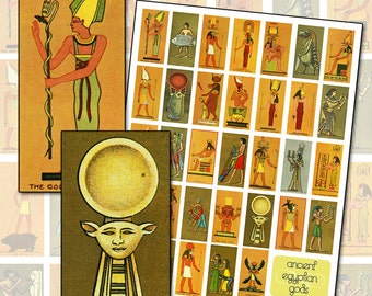 Ancient Egypt God and Goddess Digital Collage sheet for domino jewelry collage 1x2 inch 25mm x 50mm