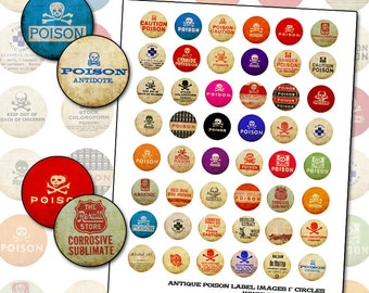 Antique Poison Pharmacy Label 1 inch circle digital collage sheet for buttons badges bottlecap necklace 25mm round 25.4mm pinback arsenic