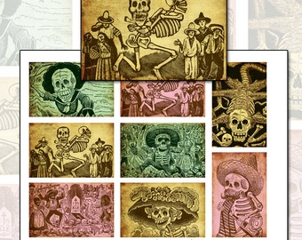 Day of the Dead Altoids Tin Color digital collage sheet 3.5 inch x 2.25 inch Mexican Mexico Día de los Muertos All saints Day All Souls Day