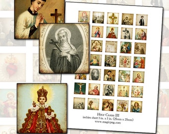 """Holy Cards III Inchies 1x1 square digital collage sheet for jewelry religious art 25.4mm 1"""""""