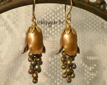 vintage brass flower cascading glass drop bead dangle earrings vintage style