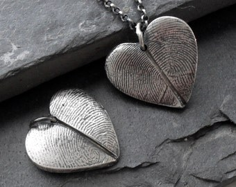 Heart Fingerprint Necklace with Two Adult Fingerprints in Fine Silver Sterling Silver