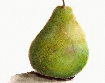 Green Pear Print from Original Watercolor, Kitchen Decor, Home Decor Wall Art, Food Watercolor Art,