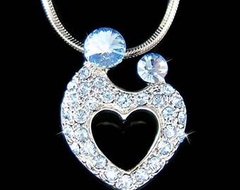 Swarovski Crystal Blue MOM Mother Love Baby Child Kids Hold hands Heart Motherhood Necklace Mother's Day Gift
