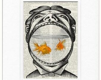 man and his goldfish print