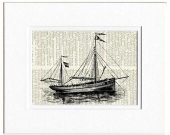 sail boat VI dictionary page print