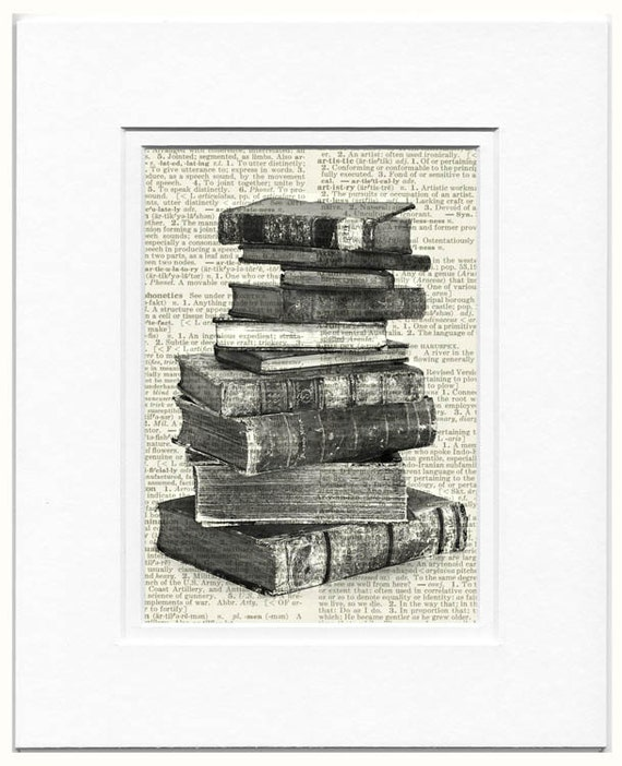 stack of antique books on dictionary page