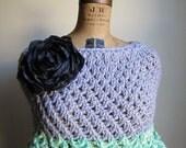 Holiday SALE. Trellis Capelet. Light Grey. Mint. Lucite Green. Glacier Gray. knit cape.