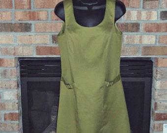 Womens Scooter Sheath Size 4 Vintage Mini Dress Boulevard De Paris Green Sleeveless Zip Up Mod Dress USA