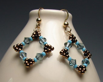 Square Beadwork Earrings Turquoise and Bronze Stitched Squares