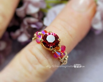 Indian Pink Fire Opal AB Swarovski Original Signature Design Hand Crafted Wire Wrapped Ring Fine Jewelry by MyWiredImagination