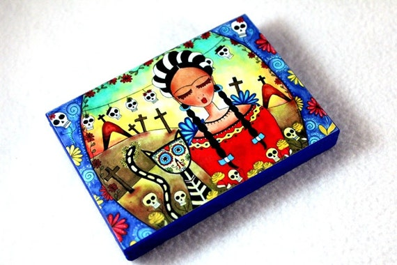 Art Print on Wood Block, Driled Hole or Magnet, Frida and Cat Day of the Dead Art Print, ACEO ATC Artist Trading Card, Mexican, Red Blue