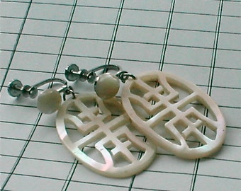 Carved MOP Asian Character Earrings - Long and Happy Life -  Dangle Earrings Screw Back