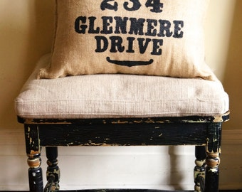 Custom Address Burlap Charley Pillow - wedding gift - porch decor - summer burlap - business gift