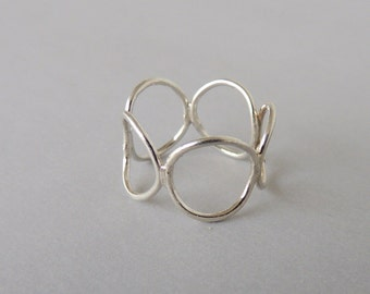 Sterling Silver Bubble Ring - Silver Circle Ring, midi ring