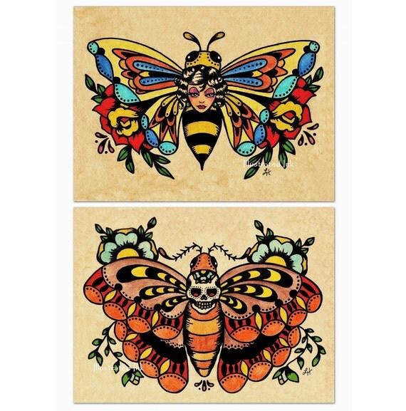 Old School Tattoo Art Flash BEE Butterfly & Skull MOTH Prints 5 x 7, 8 x 10 or 11 x 14 Set