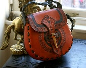 Leather Handbag-Celtic Leather Handbag-Tooled Leather Handbag-Leather Handbags-Purse Cross Body Bag-Leather Handbag-Leather Saddlebag