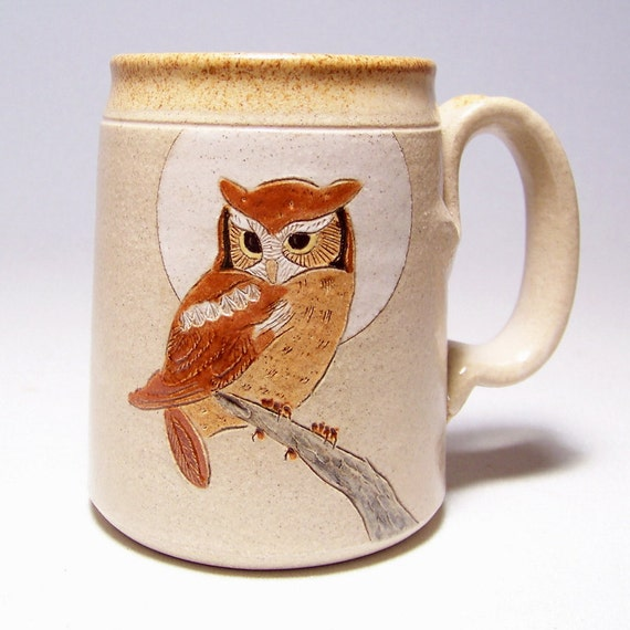 Owl and Moon Large 16 ounce Pottery Coffee  Mugs Limited Series 214