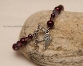 Angel Wing charm bracelet, purple bead bracelet, guardian angel jewelry, infant pregnancy loss bracelet, mother's day gift, amethyst bead