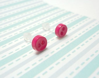 Dark Pink Stud Earrings Almost Fuchsia Mini Buttons Metal Free Acrylic Posts Hypoallergenic Posts Sensitive Ears Kawaii Earrings Zero Metal