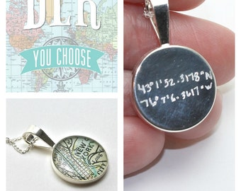 Latitude and Longitude Coordinate Jewelry Vintage Map Sterling Silver Round Necklace with Handwritten Engraving.  You Select the Journey.