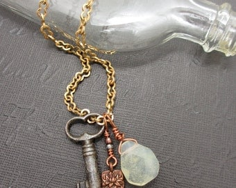 Antique key charm necklace
