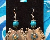 Savannah earrings - metal earrings - swavorski crystal - spoon earrings - turquoise earrings