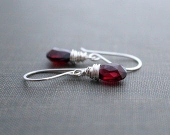 Garnet Dangle Earrings , Genuine Gemstone Sterling Silver Drop Earrings , January Birthstone earrings