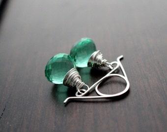 Green Quartz Earrings, Sterling Silver Large Gemstone Drop, Handmade, Caribbean Green