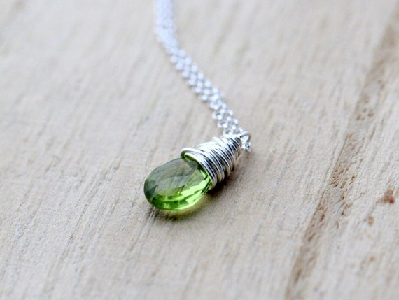 Peridot Silver Necklace - Wire Wrapped Peridot Briolette In Sterling Silver, August Birthstone