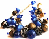 RESERVED for geoff - Antique Button Bracelet, Charm Bracelet, Vintage Beads, Blue Stars
