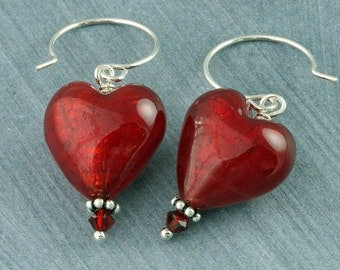 Red Heart Earrings, Valentines Earrings, Red Heart Valentine Earrings Murano Glass Red Heart Earrings Swarovski Crystal Silver Mothers Day