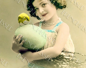 Instant Download Antique Easter French Postcard Girl Holding Huge Egg with Chick