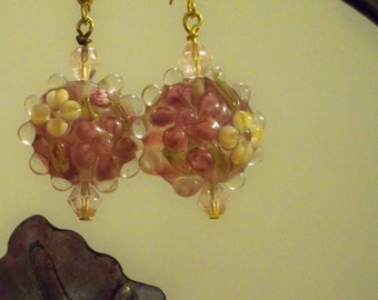 Pink Flower Earrings with  Lampwork Glass Beads & Pink Crystal Beads