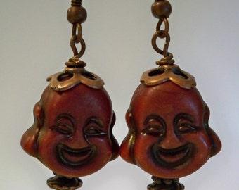 Zen Buddha Earrings,  Laughing Buddha Earrings with Copper Accents, Spiritual Earrings, Brown Resin Laughing Buddha Beads, Gifts for Women