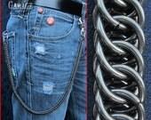 Wallet Chain - BLACK Half-Persian 4 in 1 (14 gauge) Weave - Stainless Steel