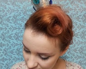 Silver Glitter Crown with blue and aqua gems