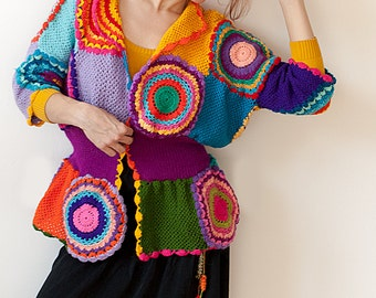 Women's Cardigan Sweater with Crochet Circles - MADE TO ORDER