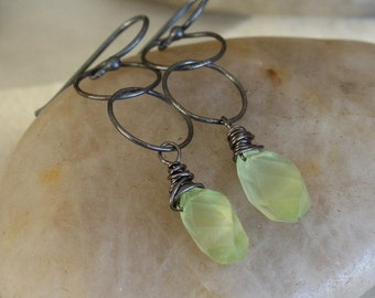 Oxidized Sterling Silver Circle Chain Earrings with Light Green Faceted Prehnite Gemstones - Leaf // F058
