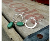 Fine Silver Hammered Hoops with Turquoise