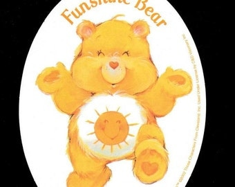 "Care Bears Funshine Bear  Large 5.5"" Oval Sticker"