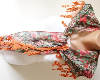 Two side Red,Green  and Purple, Orange Scarf from %100 cotton with flora desing and rose lace