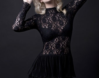 Black Lace and Chiffon Dress-Made to Order