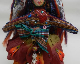Vintage Indian Printed Multi-colored One of a Kind Cloth Art Doll - Mother's Day gift.