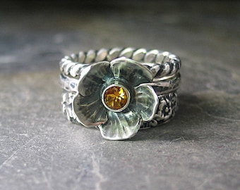 Sterling silver flower ring with citrine stacking rings set of 3 nature jewelry - Summer meadow