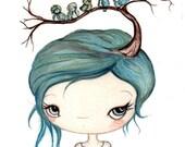 Blue Bird Print Girl Portrait Birds Spring Wall Art---Bluebirds In My Tree 5 x 7
